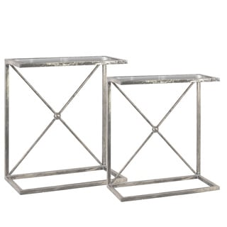Metal Rectangular Accent C-Table with Mirror Top and Rectangle Base Metallic Finish Antique Silver