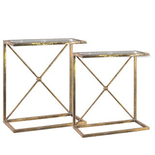 Metal Rectangular Accent C-Table with Mirror Top, X-Brace and Rectangular Base Metallic Finish Antique Gold