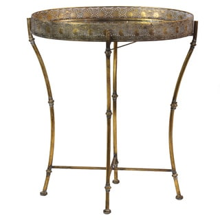 Metal Round Accent Table with Mirror Top, Pierced Metal Sides and 4 C-Legs on Pedestal Base Metallic Finish Antique Gold
