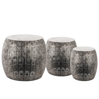 Metal Round Bellied Accent Table with Pierced Metal Design Body Set of Three Metallic Finish Silver