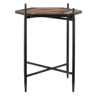 Metal Hexagonal Accent Table with Wood Parquet Design Top Coated Finish Black