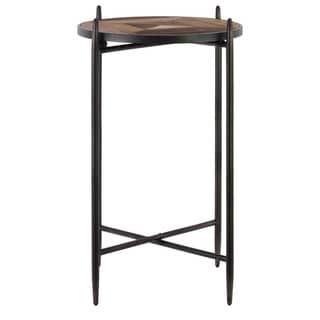 Metal Round Accent Table with Wood Parquet Design Top Coated Finish Black