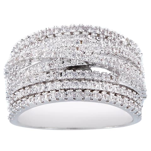 8-Rows Silver Hand Set Cubic Zirconia Criss Cross Ring by Simon Frank Designs