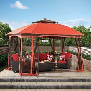 Sunjoy Orange Steel 12-foot x 10-foot Footprint Patrice Gazebo