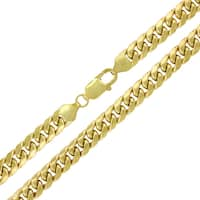 "10k Yellow Gold 7.5mm Hollow Miami Cuban Curb Link Thick Necklace Chain 22"" - 36"""
