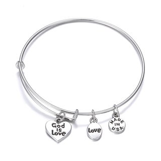 Charm Bangle bracelet god is love Inspirational