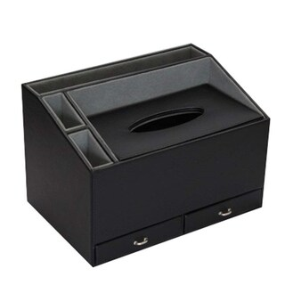 Ikee Design Home and Office Desk Faux Leather Multifunctional Storage Container