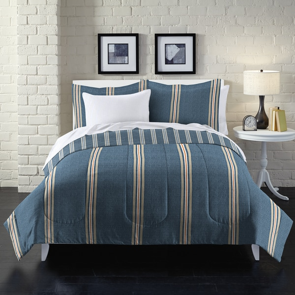 Heathered Stripe 7-piece Bed in a Bag with Sheet Set