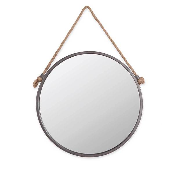 Foreside Home & Garden 15 inch Diameter Round Rustic Wall Mirror with Hanging Rope - Antique Silver - A/N. Opens flyout.