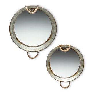 Galvanized Mirror Trays round (Set of 2)