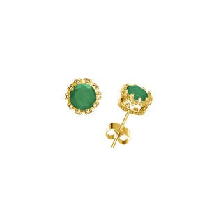 Genuine Emerald Crown Earrings in 14K Solid Gold