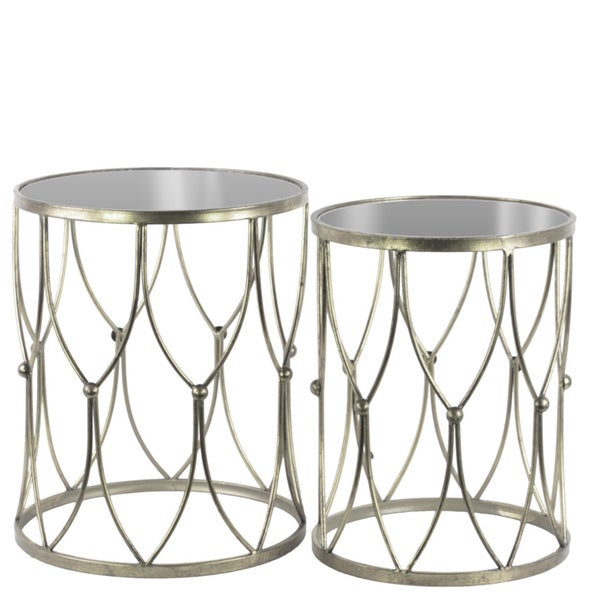 Shop Metal Round Nesting Accent Table With Mirror Top And