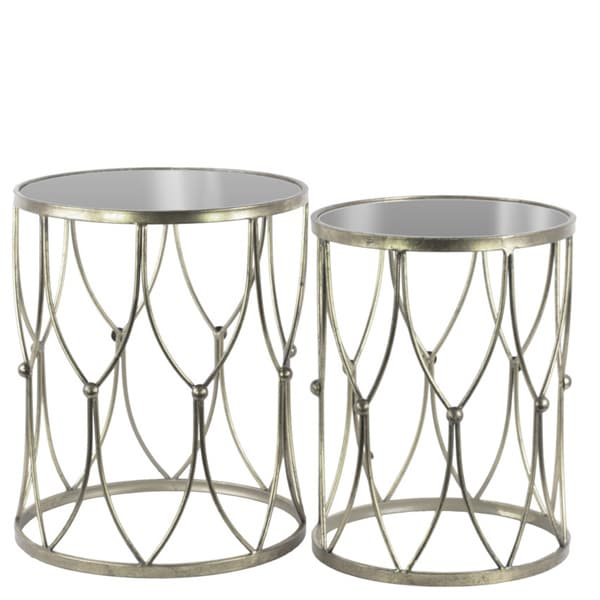 Metal round nesting accent table with mirror top and