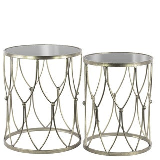 Metal Round Nesting Accent Table with Mirror Top and, Beads and Curves Design Base Set of Two Tarnished Finish Antique Silver