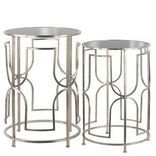 Metal Round Nesting Accent Table with Mirror Top and Square Lattice Design Base Set of Two Tarnished Finish Antique Silver
