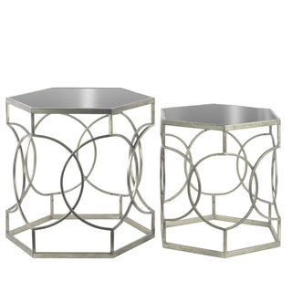 Metal Hexagonal Nesting Accent Table with Mirror Top and Circle Lattice Design Body Set of Two Tarnished Finish Antique Silver