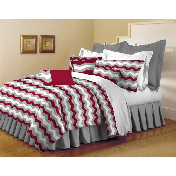 Home Dynamix Red and Grey Chevron 7-Piece Comforter Set