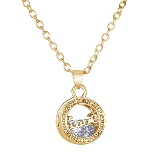 floating crystal love locket necklace