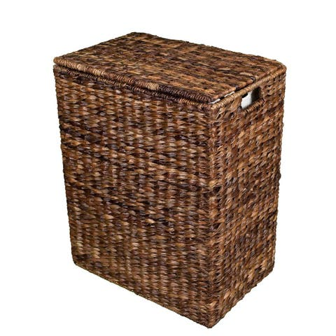 BirdRock Home Espresso Brown Abaca Laundry Hamper