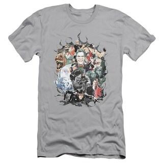Batman/Cape Of Villians Short Sleeve Adult T-Shirt 30/1 in Silver