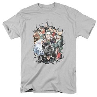 Batman/Cape Of Villians Short Sleeve Adult T-Shirt 18/1 in Silver