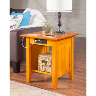 Nantucket Charger Caramel Latte Wood End Table