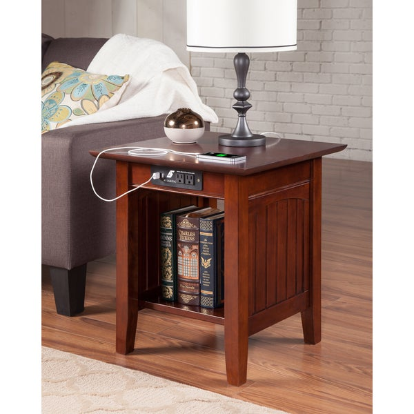Shop Nantucket End Table With Charger Walnut Free Shipping Today