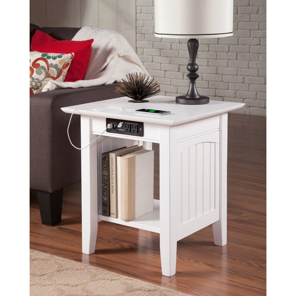 Nantucket End Table with Charging Station in White. Opens flyout.