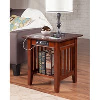 Mission Charger Walnut Wood End Table