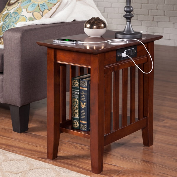 Mission Chair Side Table with Charging Station in Walnut