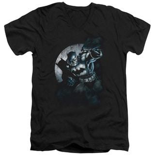 Batman/Batman Spotlight Short Sleeve Adult T-Shirt V-Neck in Black