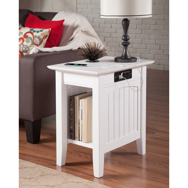Shop Nantucket Charger White Wood Side Table On Sale