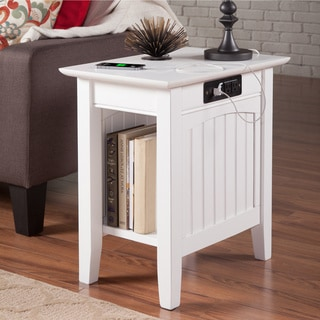 Nantucket Chair Side Table with Charging Station in White