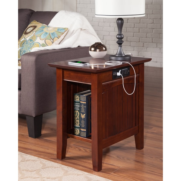 Nantucket Chair Side Table with Charging Station in Walnut. Opens flyout.
