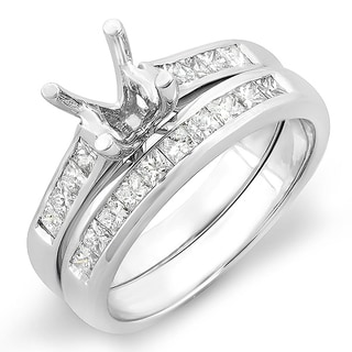 14k White Gold 1/2ct TDW Princess Diamond Bridal Engagement Ring Set (H-I, I1-I2)