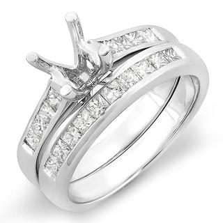 Elora 14k White Gold 1/2ct TDW Princess Diamond Bridal Engagement Ring Set (H-I, I1-I2)