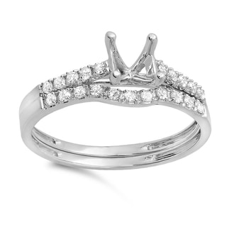 14k White Gold 1/4ct TDW Round Diamond Bridal Ring Set (H-I, I1-I2)