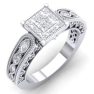 Elora Sterling Silver 1/10ct TDW Round-cut White Diamond Bridal Milgrain Engagement Ring (I-J, I2-I3)