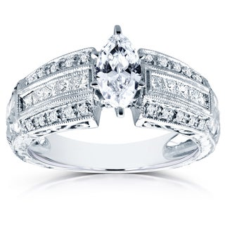 Annello by Kobelli 14k White Gold Certified 1 3/5ct TDW Marquise Diamond Milgrain Antique Engagement
