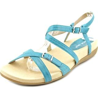 David Tate Women's Farah Blue Leather Sandals