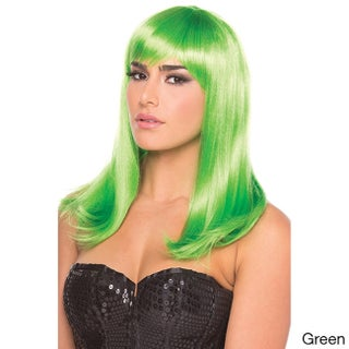 Be Wicked Synthetic Medium-length Fashion Hollywood Wig (Option: Green)