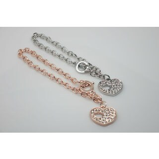 Swarovski Crystal Heart Toggle Bracelet