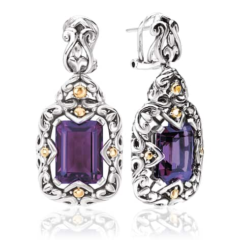 Avanti Sterling Silver and 18k Yellow Gold Emerald-cut Amethyst Dangle Earrings