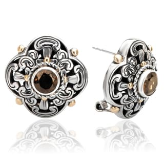 Avanti Sterling Silver and 18K Yellow Gold Smoky Quartz Omega Clip Earrings