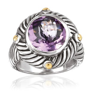 Avanti Sterling Silver and 18K Yellow Gold 3 1/2 CT TGW Round Amethyst Fashion Statement Ring