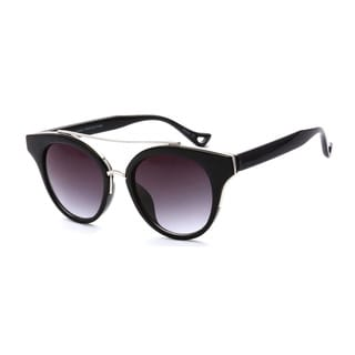 Epic Eyewear Trendy Black/White Metal Double Bridge Dapper UV400 Sunglasses