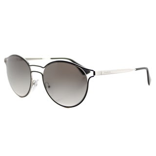 Prada PR 62SS 1AB0A7 Cinema Black Silver Metal Round Grey Gradient Lens Sunglasses