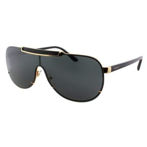 Versace VE 2140 100287 Gold And Black Metal Grey Lens Sunglasses