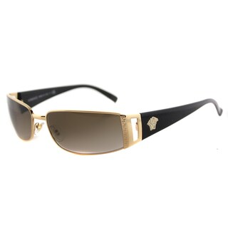 Versace VE 2021 100213 Gold Metal Rectangle Brown Gradient Lens Sunglasses