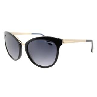 Tom Ford TF 461 05W Emma Black Gold Plastic Cat-Eye Grey Gradient Lens Sunglasses